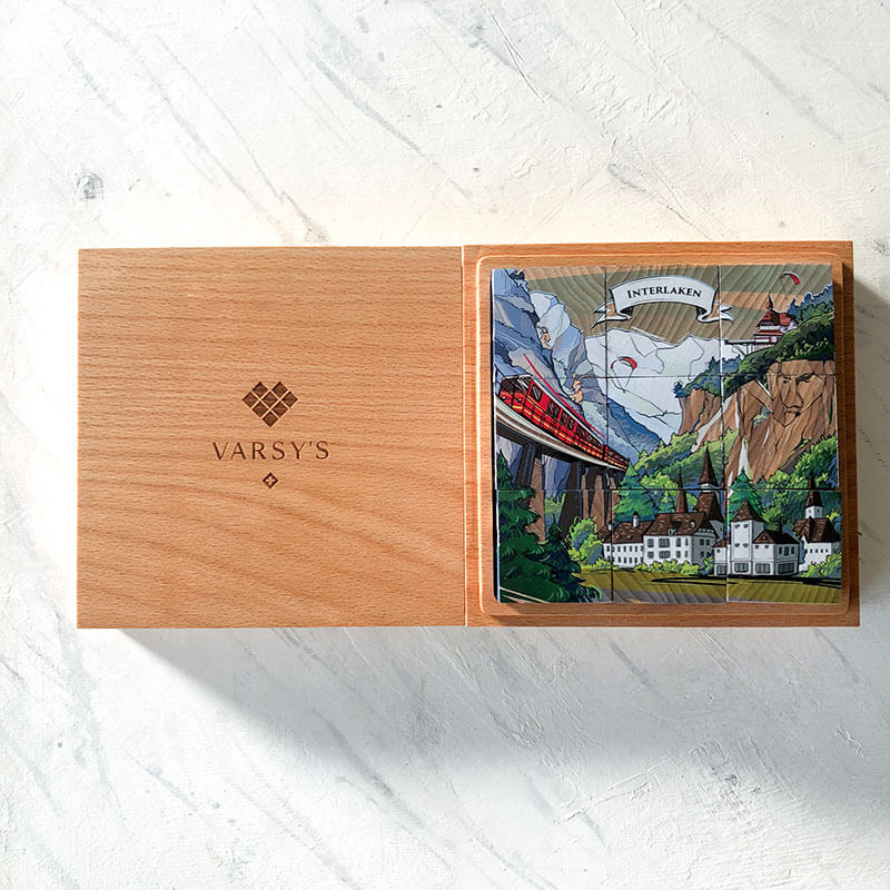 The 9 Swiss legend cubes in VARSY'S Legendbox Limited Edition come in a high-quality beechwood box, made in Switzerland.