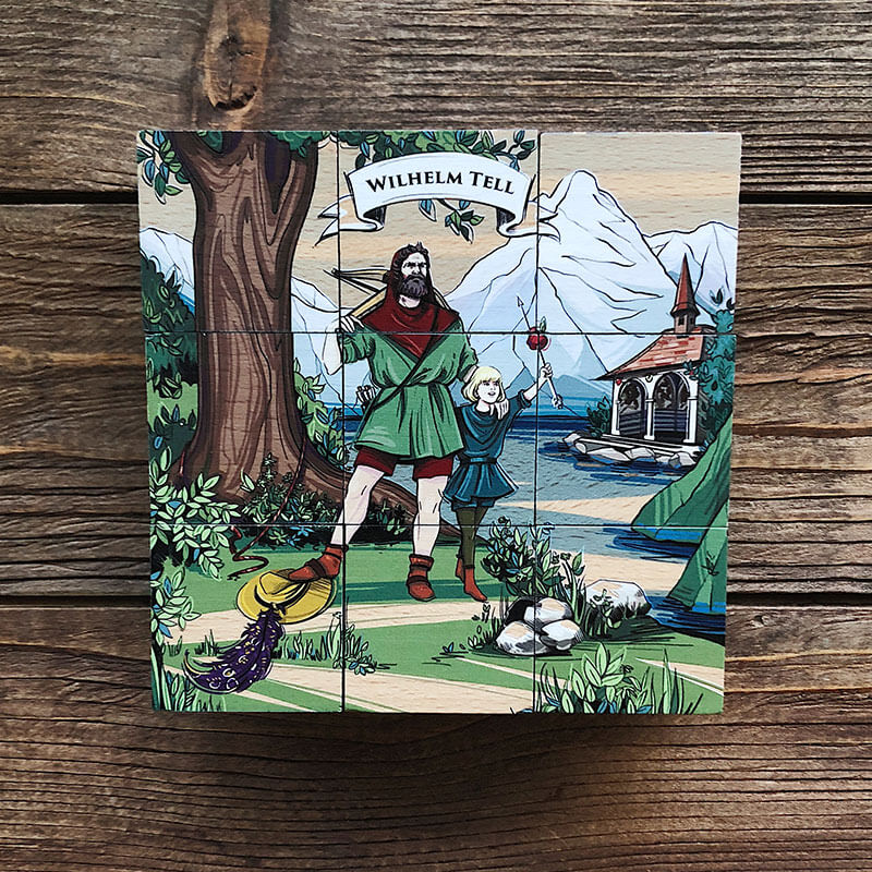 [:en]In VARSY'S Legendbox Limited Edition you will find 9 beechwood cubes with illustrations of Swiss legends, like the story of William Tell.[:de]Mit VARSY'S Legendenbox Limited Edition erhalten Sie 9 Holzwürfel mit Illustrationen Schweizer Sagen, wie hier der Geschichte von Wilhelm Tell.[:]