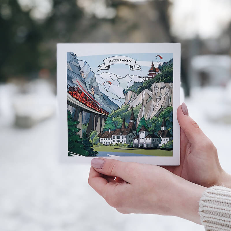 VARSY'S Swiss-made Interlaken postcards tell the story behind the idyllic view of Interlaken.