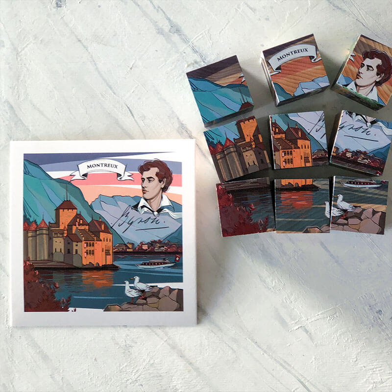 VARSY'S Legendbox Limited Edition includes the Swiss legend of Chateau Chillon near Montreux. In the legend illustration you can see the castle and an image of Lord Byron.