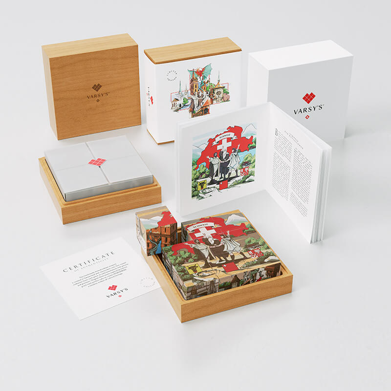A booklet with 6 legends of Switzerland, like the story of the Oath on the Rütli, 9 beechwood cubes in a massive wooden box - VARSY'S Legendbox Set 1 is the perfect souvenir from Switzerland.