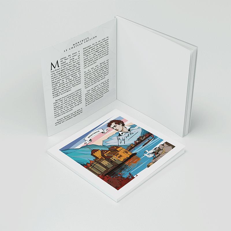 [:en]Illustration and Swiss legend text in VARSY'S notebook - The legend of Chateau Chillon and history of Montreux[:][:de]Illustration und Legendentext auf VARSY'S Notizbuch - Die Schweizer Legende vom Schloss Chillon und Geschichte von Montreux[:]