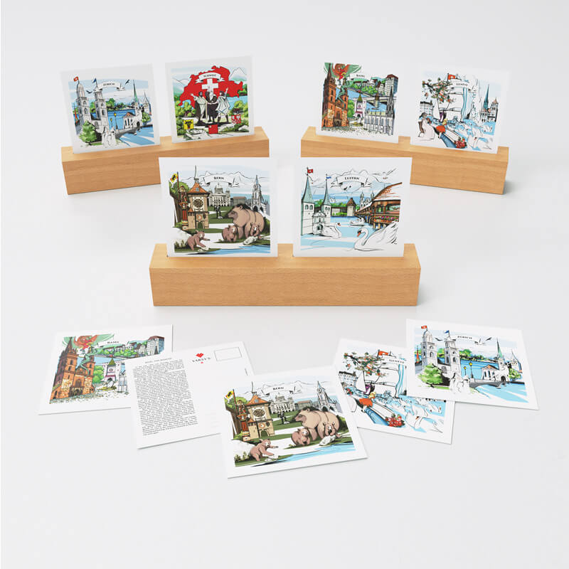 Share Swiss legends with VARSY'S Swiss-made postcards! Learn about Swiss legends and then share them!