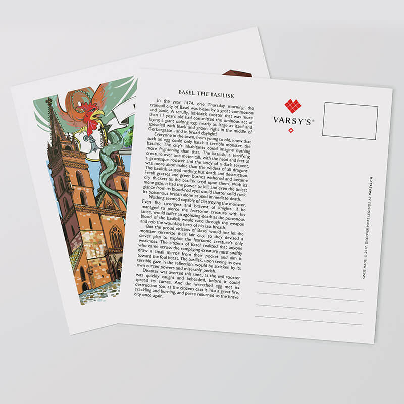 Share Swiss legends with Swiss-made Basel postcards.