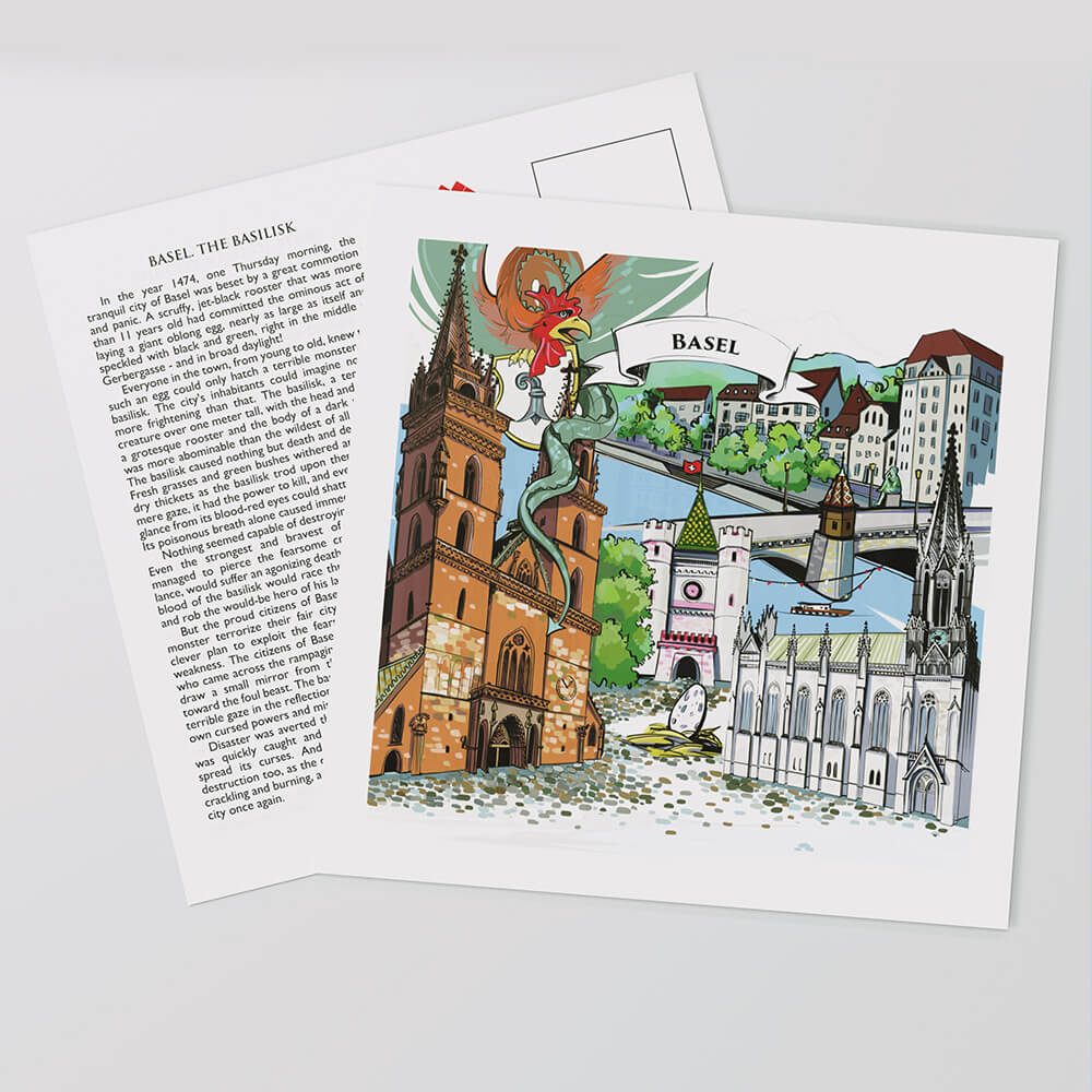 Basel postcards display a hand-painted artwork in the front and the full legend text on the reverse side.