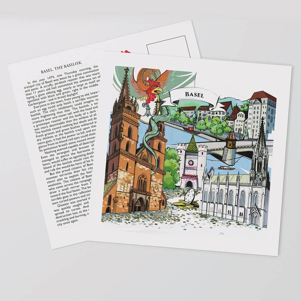 [:en]Basel postcards display a hand-painted artwork in the front and the full legend text on the reverse side.[:][:de]Das perfekte Schweizer Souvenir: Die Basler Postkarten zeigen auf der Vorderseite ein handgemaltes Kunstwerk und auf der Rückseite den vollständigen Legendentext.[:]