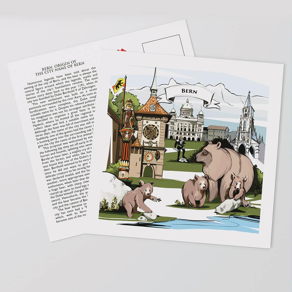 Liebevolle und handbemalte Illustration auf der Vorderseite der Berner Postkarten zeigen die Schweizer Legende und Geschichte von Bern.
