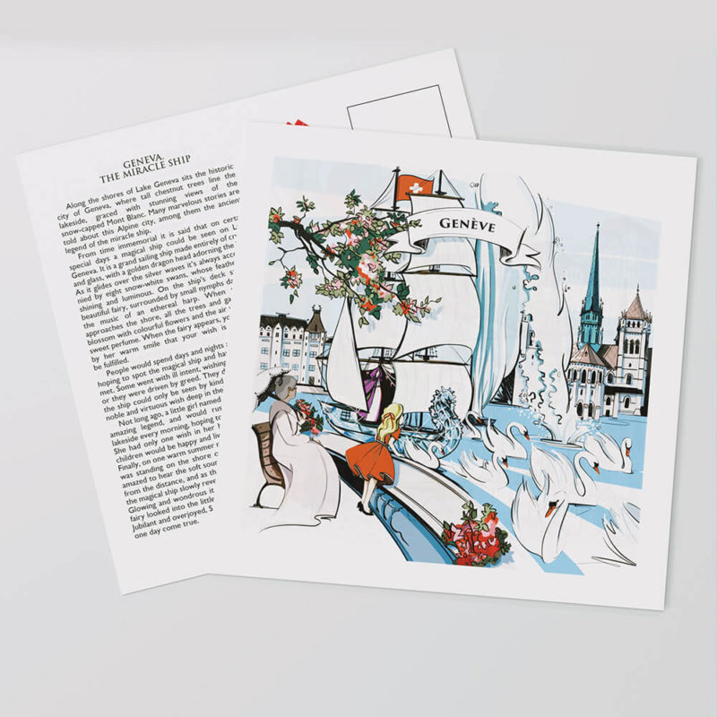 Lovingly and hand-painted artwork on the front of the Geneva postcards show a piece of Swiss culture.