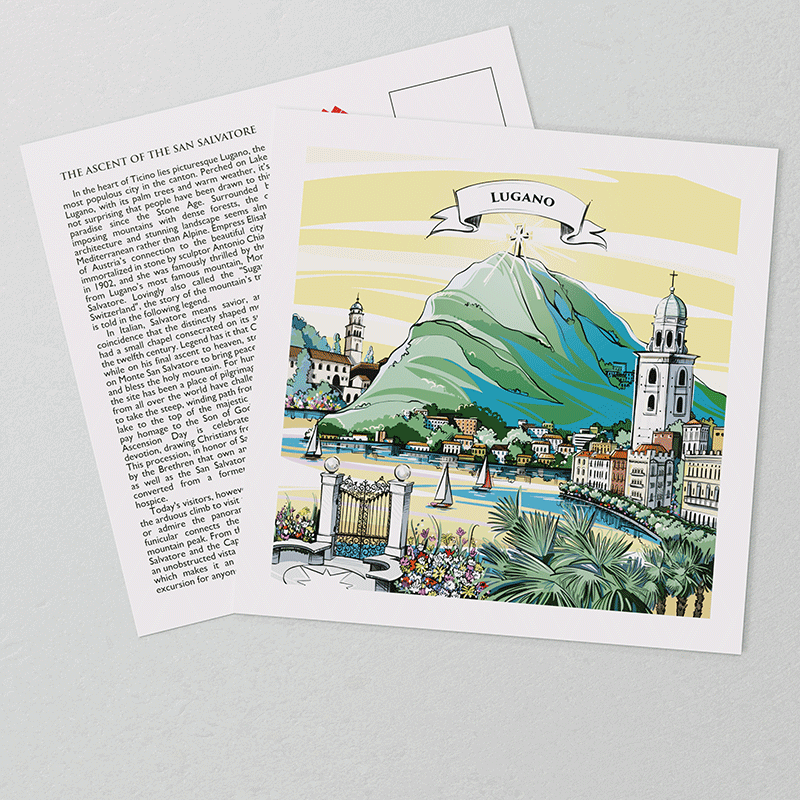 The perfect Swiss gift: VARSY'S legendary Lugano postcards show a hand-painted, detailed Swiss illustration on the front.