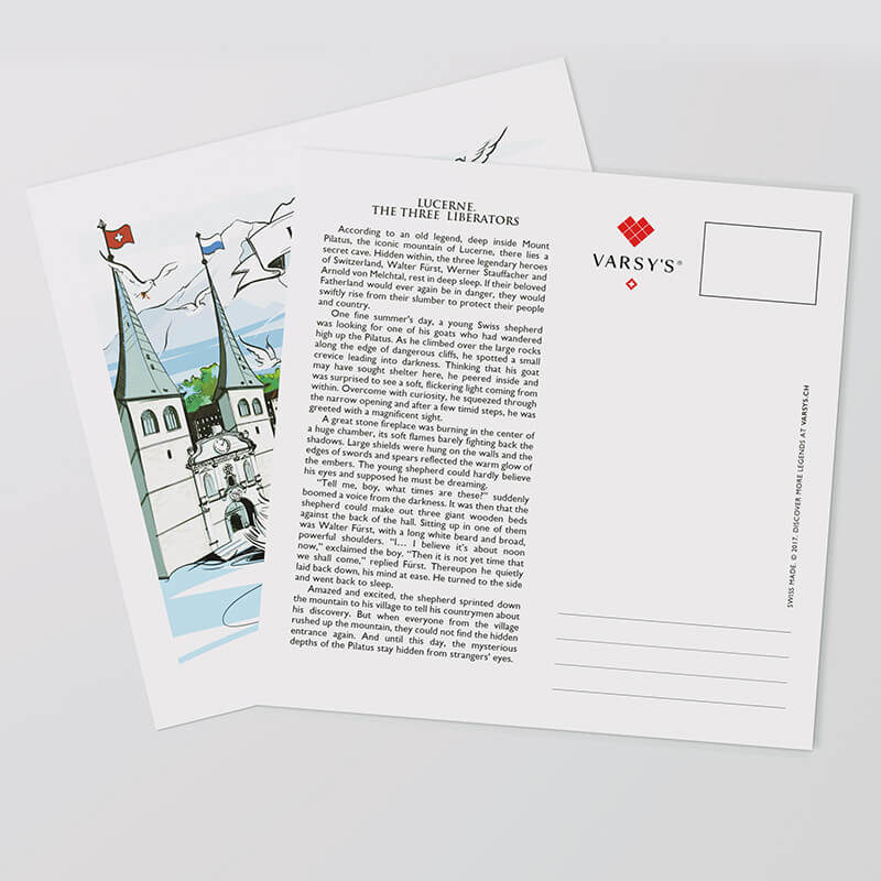 Swiss-made Luzern postcards with hand-painted artwork and the full legend text are the perfect Swiss souvenir.