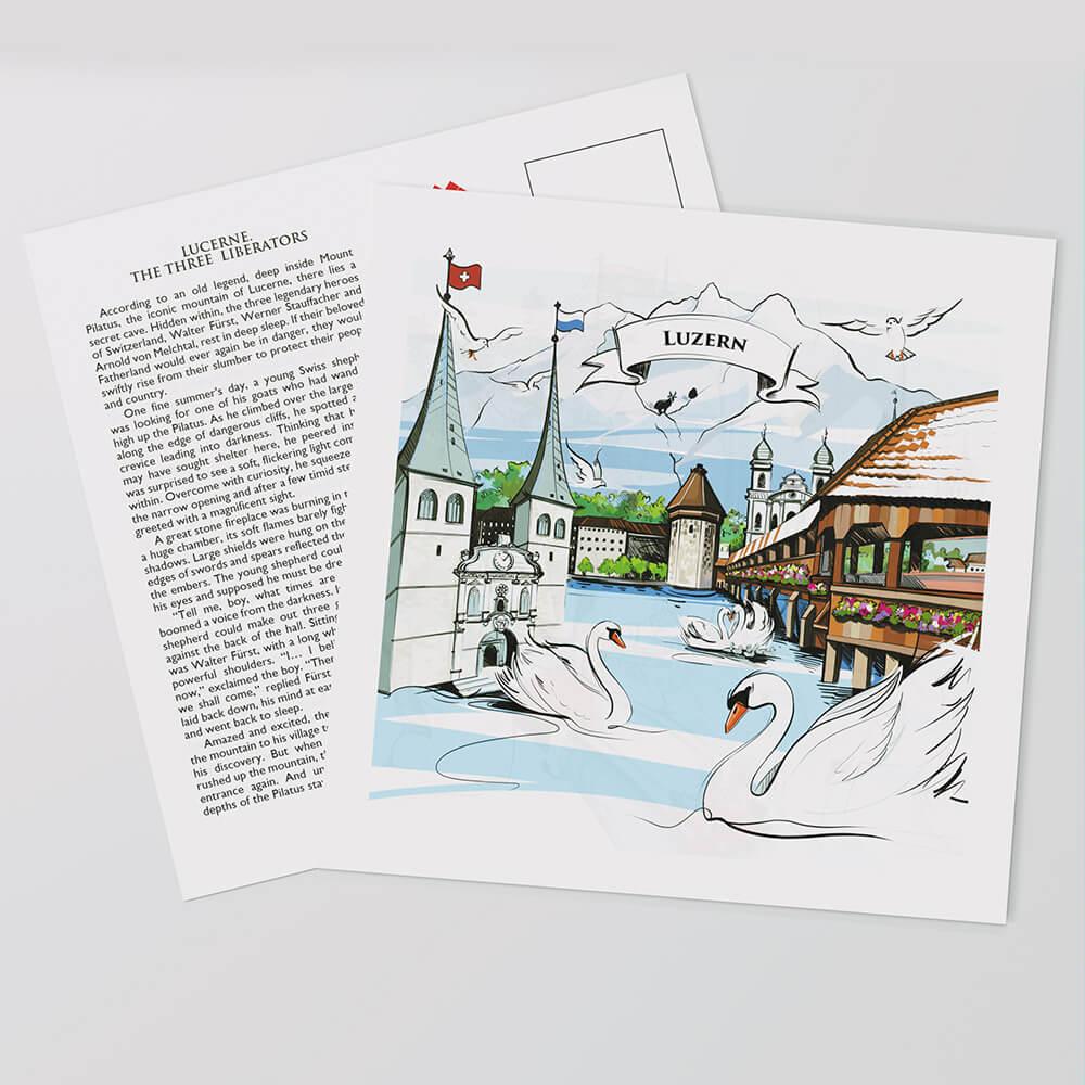 [:en]Swiss-made Luzern postcards with hand-painted artwork and the full legend text on the reverse side.[:][:de]In der Schweiz gefertigte Luzern-Postkarten mit handgemalter Grafik und dem vollständigen Legendentext auf der Rückseite.[:]