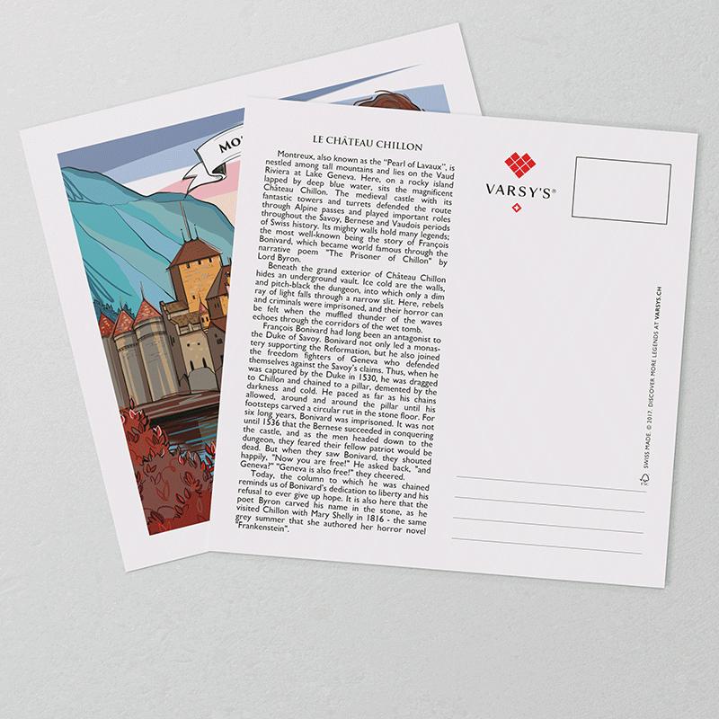 [:en]Montreux postcards display a hand-painted artwork in the front and the full legend text on the reverse side.[:][:de]Montreux Postkarten zeigen auf der Vorderseite eine Illustration der Schweizer Sage und auf der Rückseite den vollständigen Legendentext.[:]