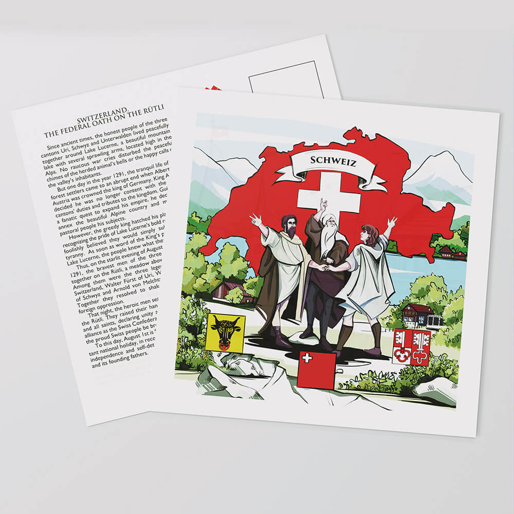 The front of VARSY'S Switzerland postcards display the Swiss cross and the countries heroes.