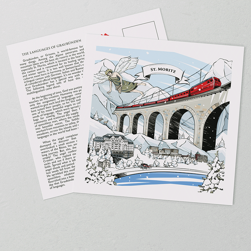 The hand-painted artwork on VARSY'S Swiss-made St. Moritz postcards show features of the legend and landscape of St. Moritz.