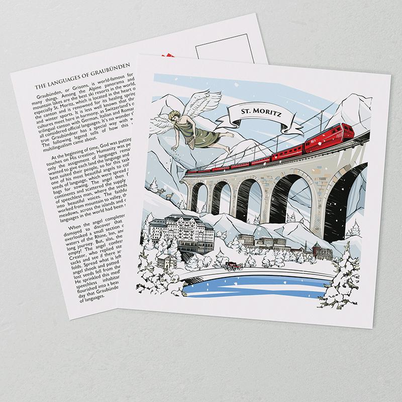 [:en]The hand-painted artwork on VARSY'S Swiss-made St. Moritz postcards show features of the legend and landscape of St. Moritz.[:][:de]Die handgemalte Illustration auf VARSY'S legendären St. Moritz Postkarten zeigt die Schweizer Legende und Landschaft von St. Moritz.[:]