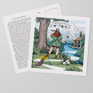 [:en]Legend of William Tell: Artwork on the front of VARSY'S William Tell postcards show the Swiss legend.[:][:de]Wilhelm Tell Geschichte: Auf der Vorderseite von VARSY'S Wilhelm Tell Postkarten ist die Schweizer Legende des Schweizer Helden abgebildet.[:]