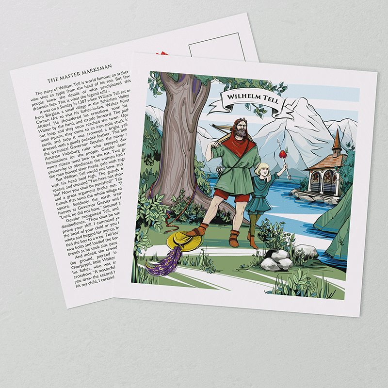 Legend of William Tell: Artwork on the front of VARSY'S William Tell postcards show the Swiss legend.