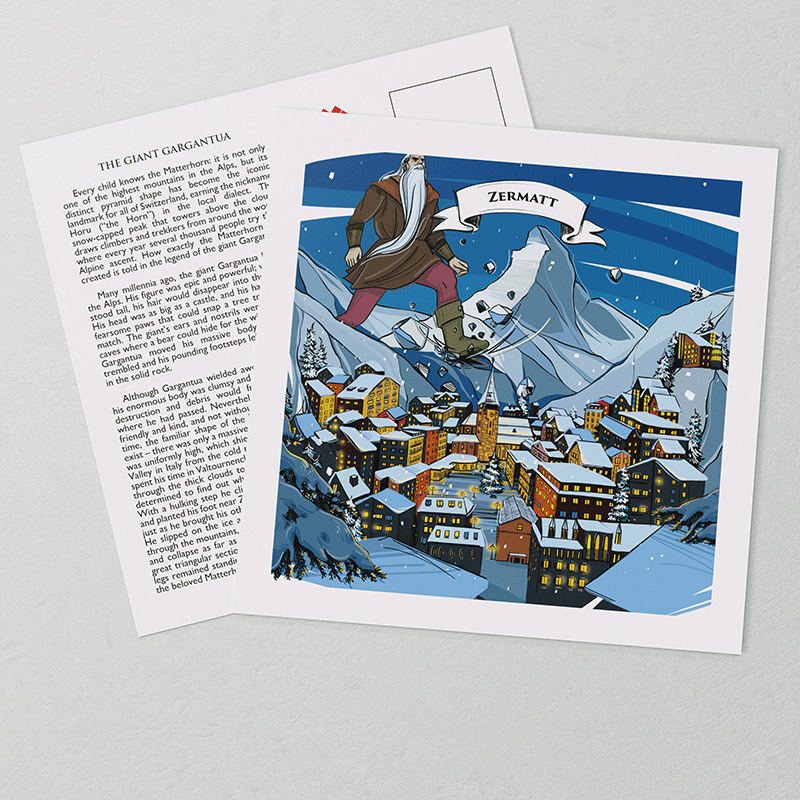 The hand-painted artwork on VARSY'S Swiss-made Zermatt postcards show the legendary Matterhorn and details of the Zermatt region.