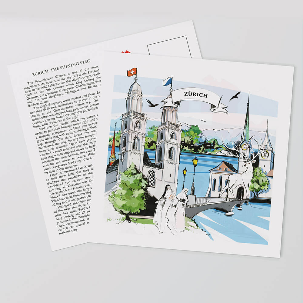 Swiss-made Zurich postcards show a lovingly designed Swiss artwork on the front.