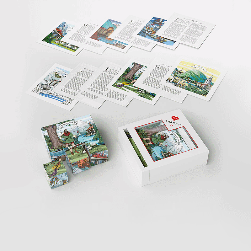 VARSY'S legendbox Select - Set including 9 wood cubes and 6 cards with Swiss heroes like William Tell and other legends from Switzerland.