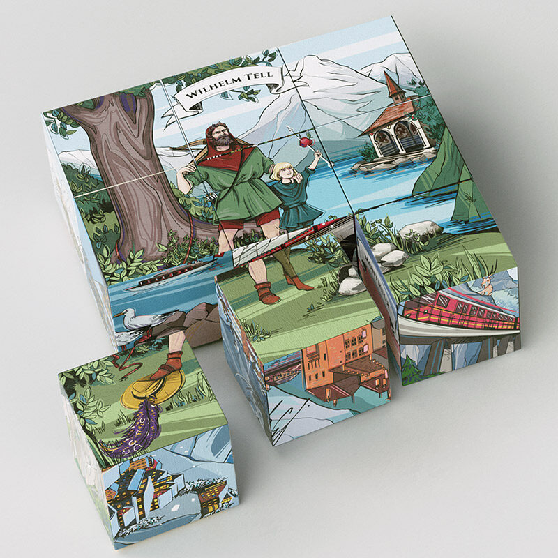 Legendbox Select - Each set includes 9 cubes with illustrations of Swiss legends. The perfect gift from Switzerland.
