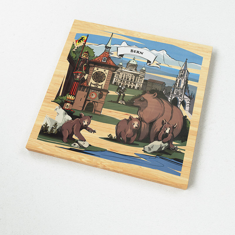 The illustration on VARSY'S Magnets Switzerland show the famous mascots of Bern and explain the Swiss story of Bern.