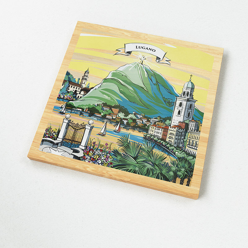 The illustration on VARSY'S Magnets Switzerland show Monte San Salvatore and elements of the legend of Lugano.