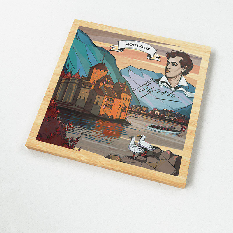 The Swiss magnets show a Swiss made illustration of the Swiss legend Montreux, a portrait of Lord Byron and the beautiful Chateau Chillon.