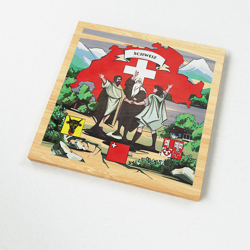The Swiss magnets show a Swiss made illustration of the Swiss legend of the Oath on the Rütli.