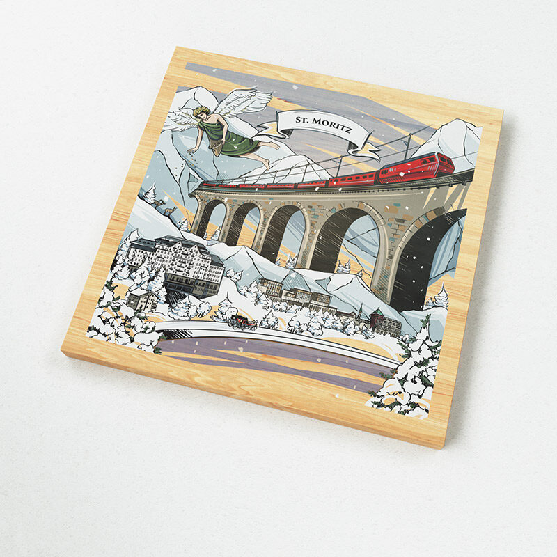 The Swiss magnets show a Swiss made illustration of the legend of the many languages of Grison.