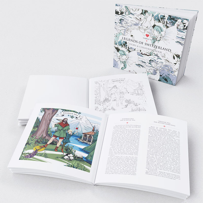 VARSY'S legends of Switzerland story and colouring book contains 62 pages with stories of Swiss heroes and illustrations of Swiss legends to colour in.